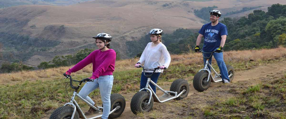 Downhill scooters in the Drakensberg