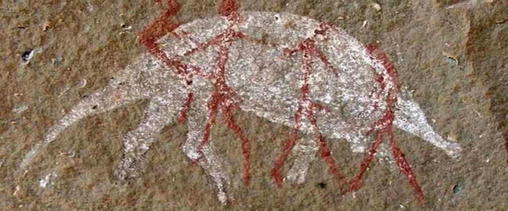 Bushman rock art battle cave injisuthi